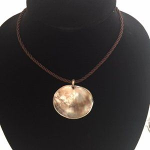 Cookie Lee Abalone Shell Pendant Brown Rope Choker